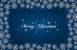Blue New Year background with white snowflakes and inscription Merry Christmas. Snowfall. For Christmas design