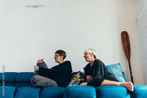 Women sitting on sofa
