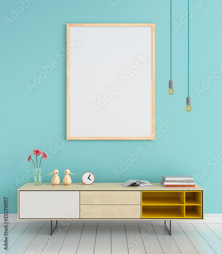 Valokuva  Sideboard and blank photo frame for mockup on wall, 3D rendering