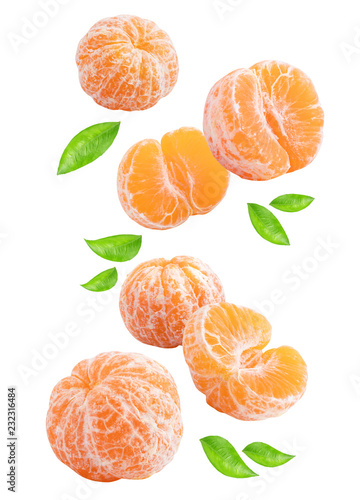 Flying mandarins isolated with shadow on white background.