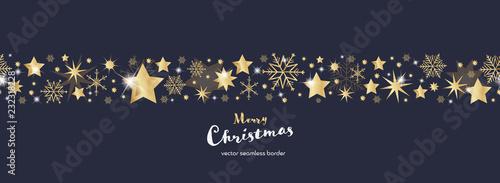 Fototapeta Christmas time. Dark blue and golden snowflake and star seamless border. Text : Merry Christmas  obraz
