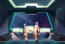 Outer Space Explorers Or Travelers Cartoon Vector Illustration With Female And Male Astronauts In Spacesuits Standing In Starship Pilot Cabin Or Captain Bridge With Porthole And Helm On Control Panel.