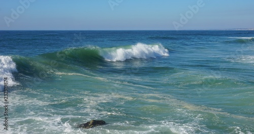 Canvas Prints Ocean rough waves touching coast of portugal in autumn