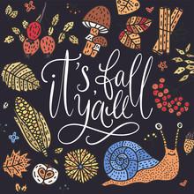 Cozy Fall Vector Illustration. Autumn Vector Lettering Card.