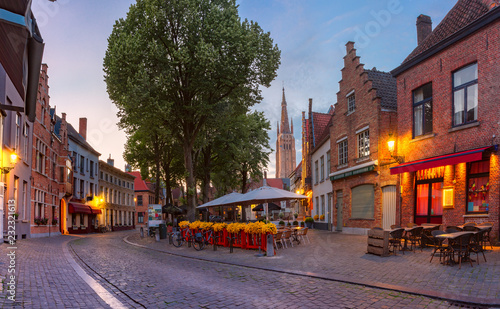 Poster Centraal Europa Walplein square in medieval fairytale old town in the evening, Bruges, Belgium