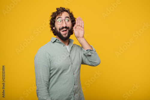Photo  young bearded businessman expressing a concept