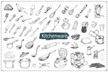 Hand Drawn Kitchen Utencils. Vector Icons Set