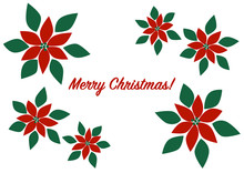 Merry Christmas クリスマス ポインセチア イラスト