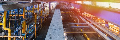 Foto auf AluDibond Bahnhof Fiberglass production industry equipment at manufacture background