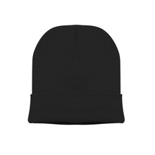 Blank Beanie In Black Color In White Background For Mockup Template Isolated