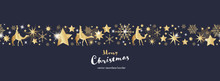Christmas Time. Dark Blue And Golden Snowflake And Star Seamless Border With Three Kings. Text : Merry Christmas
