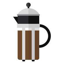 Press Coffee Maker, Vector Illustration. EPS10. Coffee.