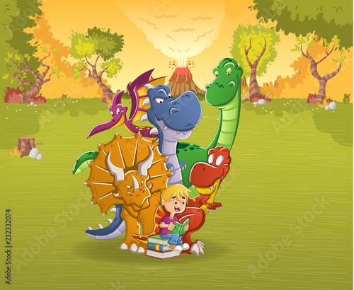 kreskowka-chlopiec-czyta-ksiazke-do-duzych-dinozaurow