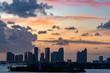 sunset miami downtown view panorama