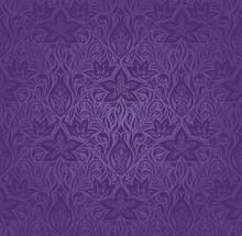 Violet Purple Flowers, Ornate Vintage Seamless Pattern Floral Background Trendy Fashion Mandala Design