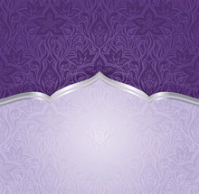 Violet Purple Floral  Vintage Seamless Pattern Background  Design Trendy Fashion  Invitation Design With Copy Space