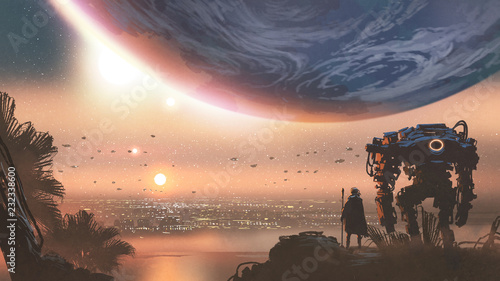 Aluminium Prints Salmon journey concept showing a man with robot looking at a new colony in the alien planet, digital art style, illustration painting