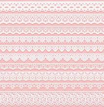 Set Of Horizontal Seamless Borders For Wedding Design. White Lace Silhouette Isolated On Pink Background. Suitable For Laser Cutting.