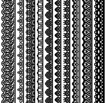 Collection Of Vertical Seamless Borders For Design. Black Lace Silhouette Isolated On White Background. Suitable For Laser Cutting.