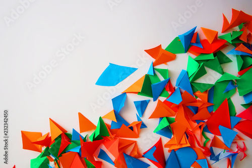 Foto op Plexiglas Geometrische dieren the scissored pieces of color paper. The place for the text