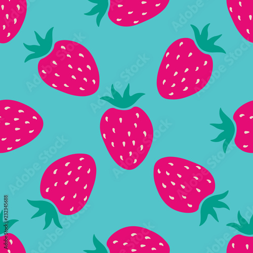 Seamless pattern with cartoon red strawberry. Fruit background.