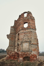 Ruined Castle. Ruins Of An Old European Castle On An Autumn Afternoon.