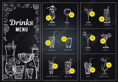 Cocktail Menu Design Template And Drink List Vector Outline Hand