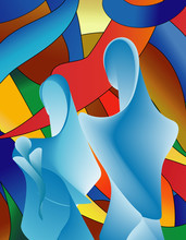 Abstract Modern Blue Holy Family With Colorful Mosaic Background
