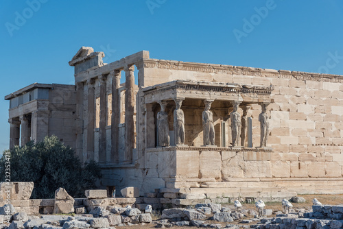 The Porch of the Caryatids in The Erechtheion an ancient Greek temple, Acropolis of Athens, Greece. .