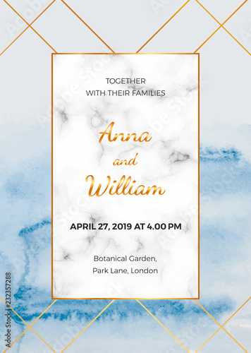 Wedding Invitation Card With Marble Frame Golden Lines And