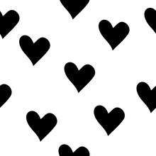 Black White Hearts Seamless Pattern Vector