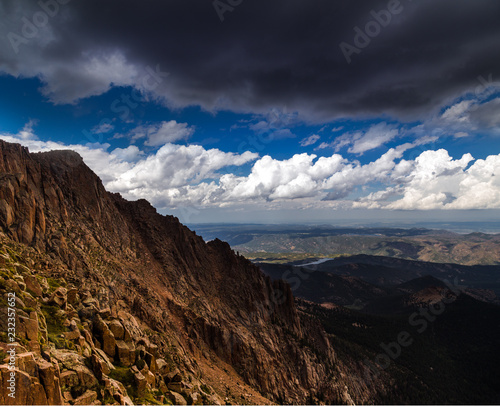 Fotobehang Zwart Mountain Landscape in Colorado, United States. Summer landscape, blue sky, panoramic view, orange rocks. Breathtaking aerial view
