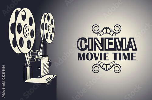 cinema poster with retro film projector background