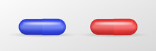 Medicaments Top View Vector Of A Red And Blue Oval Pill On White Background.