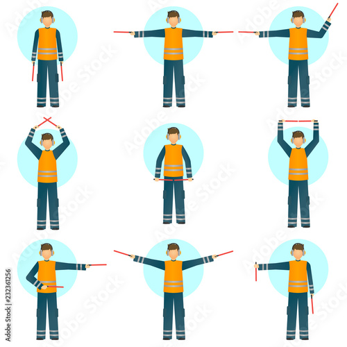 Set of illustrations of a special worker in reflective clothing showing signals for the aircraft Canvas Print