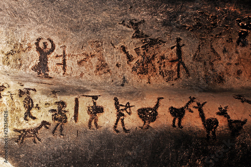 Photo Prehistoric mural drawings in Magura cave