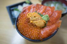 Fresh Salmon And Sea Urchin Rice Bowl