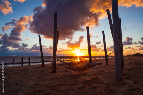 Carta da parati Sunset on the empty beach, Hjerting, Jutland, Denmark
