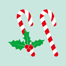 Christmas Candy Cane. Christmas Holly.