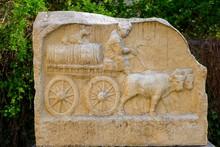 Roman Relief Of An Ox Cart, Augsburg, Swabia, Bavaria, Germany, Europe