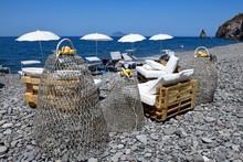 Beach Cafe At Canneto, Lipari, Lipari Or Aeolian Islands, Sicily, Italy, Europe