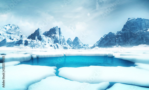 cracked ice floe pieces with big mountains behind background, global warming and environmental conditions 3D illustration render