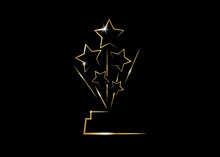 Vector Illustration Abstract Golden Stars Logo Icon. Academy Award Icon In Flat Style Isolated Or Black Background, Gold Silhouette Statue Icon. Films And Cinema Symbol Stock