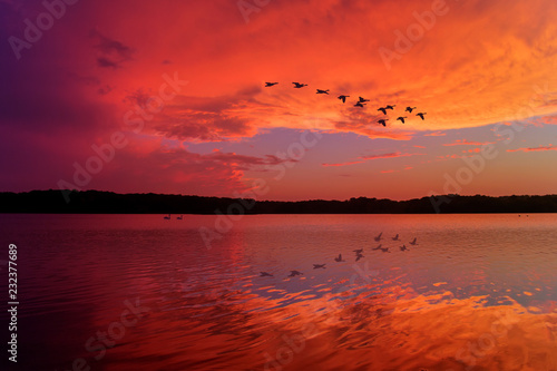 Obraz na plátně  Stunning Sunset Sky Reflected on Relaxing Lake With Canadian Geese Flying Overhe