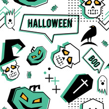 Vector Trendy Halloween Seamless Pattern With Memphis Geometric Style Of Ghost, Skull, Spider Web, And Horror Crow. Fashion Artistic Ready For Print.