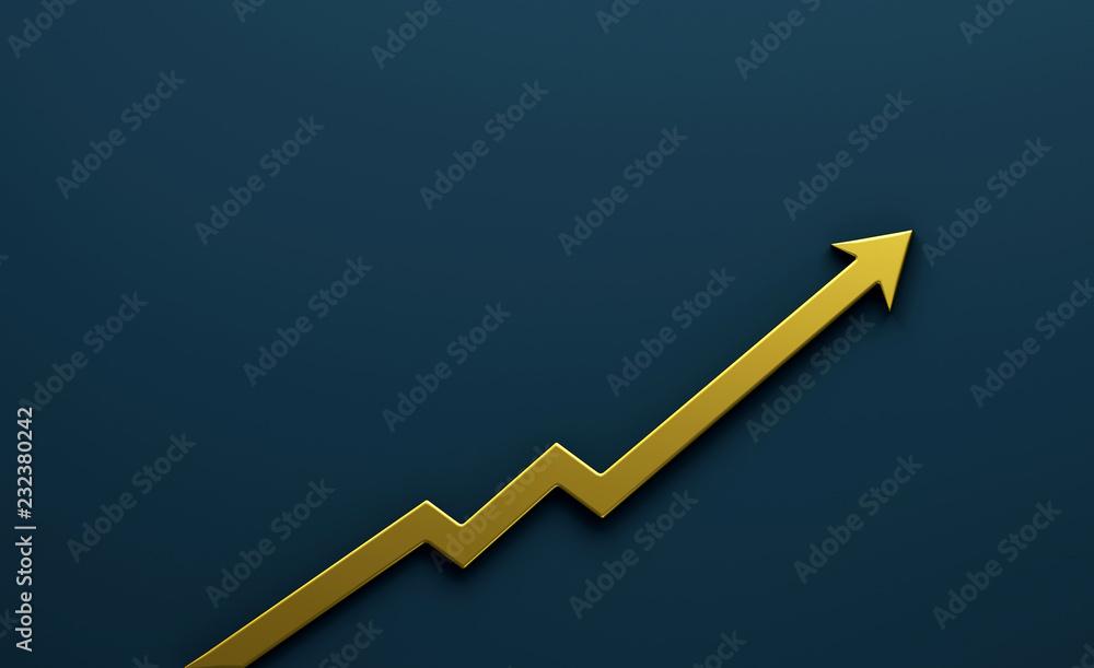 Fototapeta Gold Graph Arrow of Improvement. 3D Render Illustration.