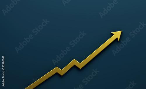 Fototapeta Gold Graph Arrow of Improvement. 3D Render Illustration. obraz