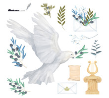 Pigeon And Olive Antique Post Set Clip Art Digital Drawing Watercolor Bird Fly Peace Dove For Wedding Celebration Illustration Similar On White Background