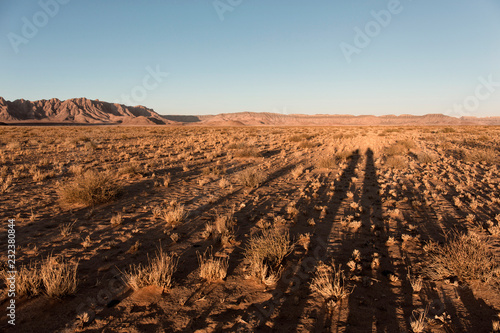 Beautiful landscape with red dunes at sunset, shadow of two people, Sossusvlei, Namib Naukluft National Park, Namibia