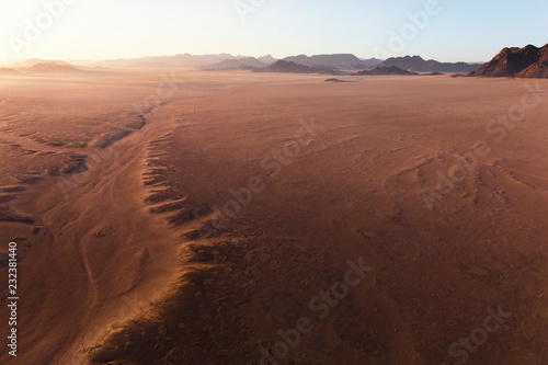 High altitude view from air balloons on the sands of the Sossusvlei Desert, Sesriem, Namibia